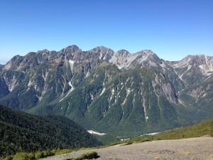 蝶ヶ岳から穂高連峰