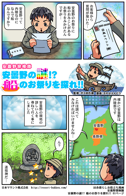 【漫画】安曇野の見どころ観光地を一挙紹介01ページ安曇野の立地と道祖神